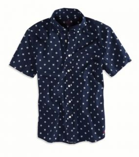 Navy AE Stars Short Sleeve Button Down Shirt, Mens L
