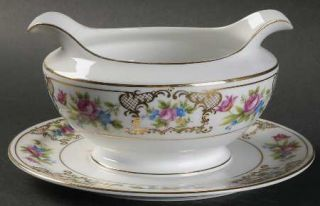 Meito Lee Dresden Gravy Boat with Attached Underplate, Fine China Dinnerware   D