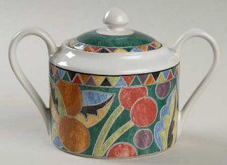 Interiors (PTS) Carmen Sugar Bowl & Lid, Fine China Dinnerware   Fruit & Triangl