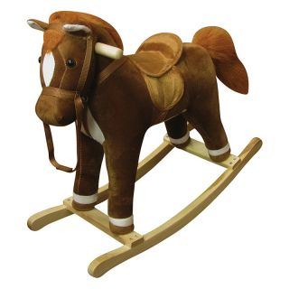 Charm Company Coffee Plush Rocking Horse Multicolor   82274