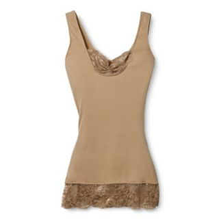 ASSETS by Sara Blakely A Spanx Brand Womens Lace Tank 1128   Tan 1X