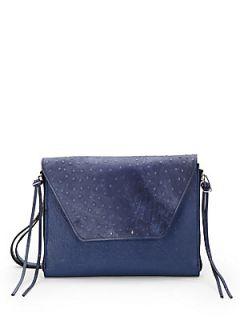 Amanda Ostrich Embossed iPad Shoulder Bag   Indigo