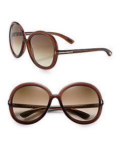 Tom Ford Eyewear Candice Oversized Round Acetate Sunglasses   Brown