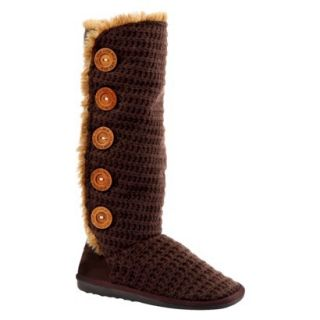 Womens MUK LUKS Malena Crotchet Button Up Boot   Brown 6