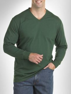 Big and Tall Harbor Bay® Long Sleeve Wicking Jersey V Neck Tee