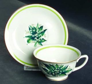 Royal Jackson Lily Of The Valley Footed Cup & Saucer Set, Fine China Dinnerware