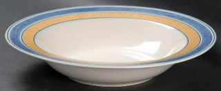 Coventry (PTS) Amadora Blue Rim Soup Bowl, Fine China Dinnerware   Blue & Yellow