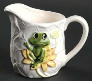 Frog Family Creamer, Fine China Dinnerware   Green Frogs & Band, Yellow/Bl