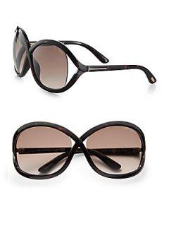 Tom Ford Eyewear Sandra Acetate Square Crossover Sunglasses   Havana