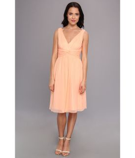 Donna Morgan Jessie Short Silk Chiffon Bra Friendly Dress Womens Dress (Pink)