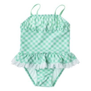 Circo Infant Toddler Girls Gingham Check 1 Piece Swimsuit   Blue 3T