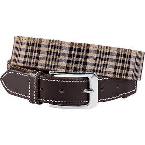 Baker  Classic Plaid Belt Brwn Leather W/plaid Small(32)