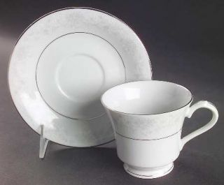 China Pearl Annie (White&Gray Desgn) Footed Cup & Saucer Set, Fine China Dinnerw
