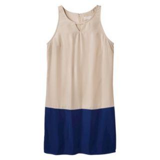 Merona Womens Colorblock Hem Shift Dress   Beige/Waterloo Blue   18
