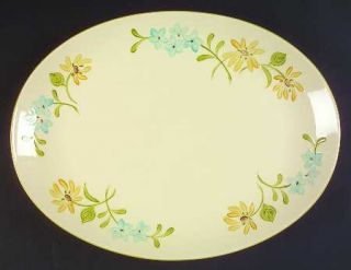 Franciscan Daisy 16 Oval Serving Platter, Fine China Dinnerware   Yellow Daisie