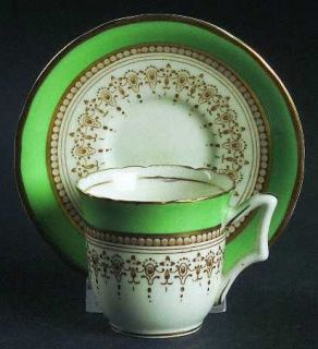 Royal Worcester Regency Green & Brown (Older) Flat Demitasse Cup & Saucer, Fine