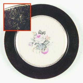 Salem Princess Anne Dinner Plate, Fine China Dinnerware   Floral Center,Gold Flo