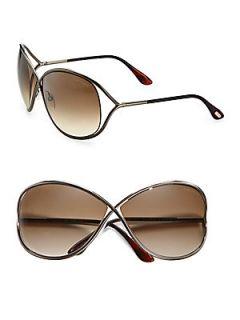 Tom Ford Eyewear Miranda Oval Sunglasses   Bronze