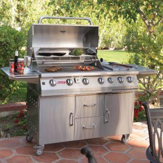 Bull 7 Burner Premium BBQ Grill Cart Multicolor   28368NG
