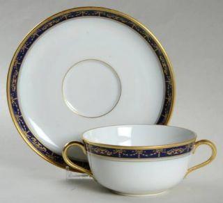 Richard Ginori Castello Flat Cream Soup Bowl & Saucer Set, Fine China Dinnerware