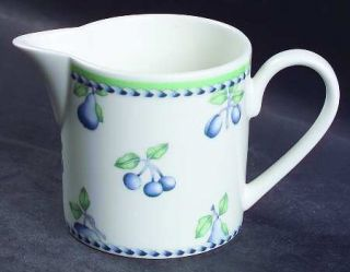 Villeroy & Boch Provence (Blue Weave,Green Trim) Creamer, Fine China Dinnerware