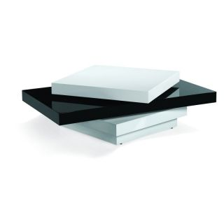 Armen Living T54 Black and White Lacquer Swivel Coffee Table   LCT54COBW