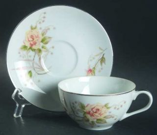 Mino Joyce Flat Cup & Saucer Set, Fine China Dinnerware   Yellow Roses,Taupe&Gre