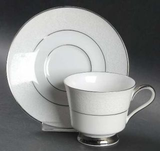 Heinrich   H&C White Lace Footed Cup & Saucer Set, Fine China Dinnerware   White