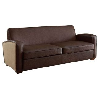 Armen Living Antique Brown Sofa with Natural Jute and Accent Nails   LC10793BR