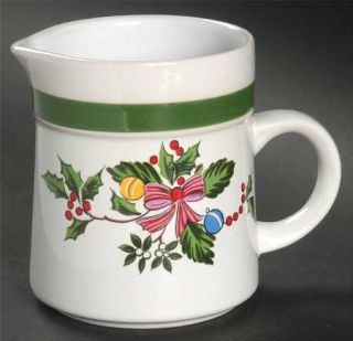 Yamaka Noel Creamer, Fine China Dinnerware   Green Band 1/4 From Edge,Xmas Tree