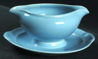 Taylor, Smith & T (TS&T) Luray Pastels Blue Gravy Boat with Attached Underplate,