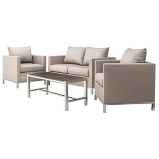 Leigh 4 Piece Upholstered Patio Conversation Furniture Set