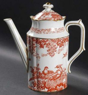 Royal Crown Derby Red Aves (Older, Discontinued 1997) Coffee Pot & Lid, Fine Chi