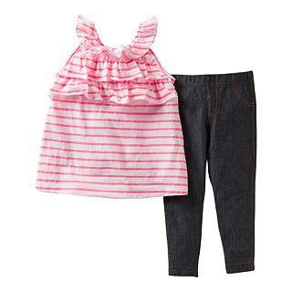 Carters 2 pc. Striped Pant Set   Girls newborn 24m, White/Pink, White/Pink,