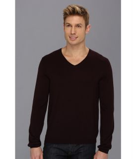 Calvin Klein Solid V Neck w/ Interior Tipping Mens Sweater (Brown)