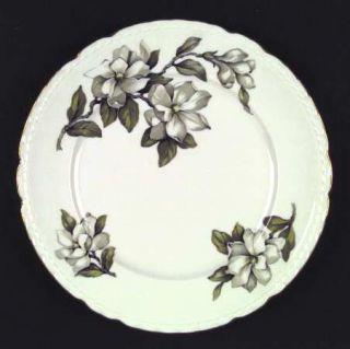 Royal Jackson Roj16 Dinner Plate, Fine China Dinnerware   White Flowers, Scallop