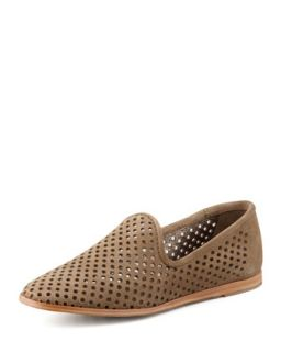 Yasmin Perforated Suede Loafer, Taupe   Pedro Garcia