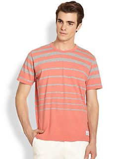Paul Smith Jeans Grey & Coral Striped Tee   Coral