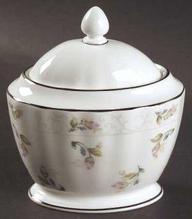 Gorham Lady Anne Sugar Bowl & Lid, Fine China Dinnerware   Pink Rose Bouquet,Rib