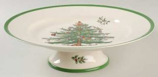 Spode Christmas Tree Green Trim Footed Cake Plate, Fine China Dinnerware   Newer