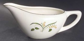 Edwin Knowles Forsythia Creamer, Fine China Dinnerware   Yellow Flowers,Green Le