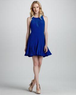 Pieced Godet Sheer Inset Flare Dress   Rebecca Taylor
