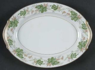 Noritake Daphne 11 Oval Serving Platter, Fine China Dinnerware   Tan & White Fl