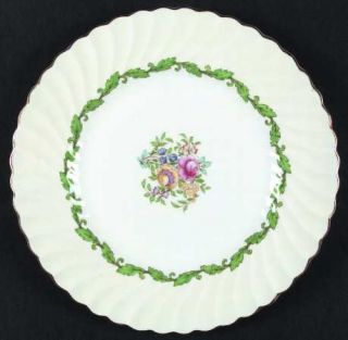 Minton Ardmore (Green Leaf) Dinner Plate, Fine China Dinnerware   Cream Rim,Gree