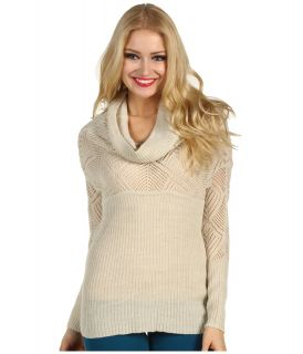 Lucky Brand Paula Cowl Neck Pointelle Sweater Womens Sweater (White)
