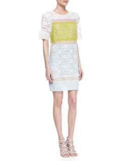 Womens Runway Patchwork Sheer Inset Lace Dress   Rebecca Taylor