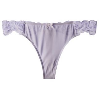 Gilligan & OMalley Womens Micro With Lace Back Thong   Lavender S