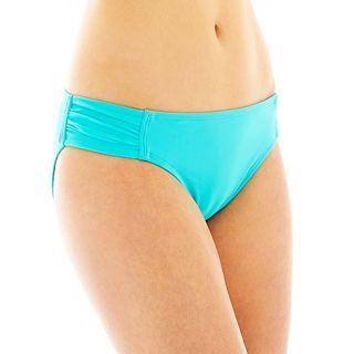 Arizona Shirred Side Hipster Swim Bottoms, Turq, Womens