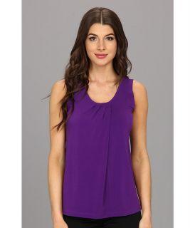 Anne Klein S/L Pleat Neck Top Womens Sleeveless (Purple)