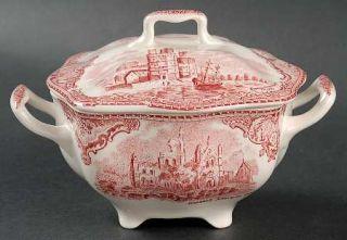 Johnson Brothers Old Britain Castles Pink(No Crown Stamp) Sugar Bowl & Lid, Fine